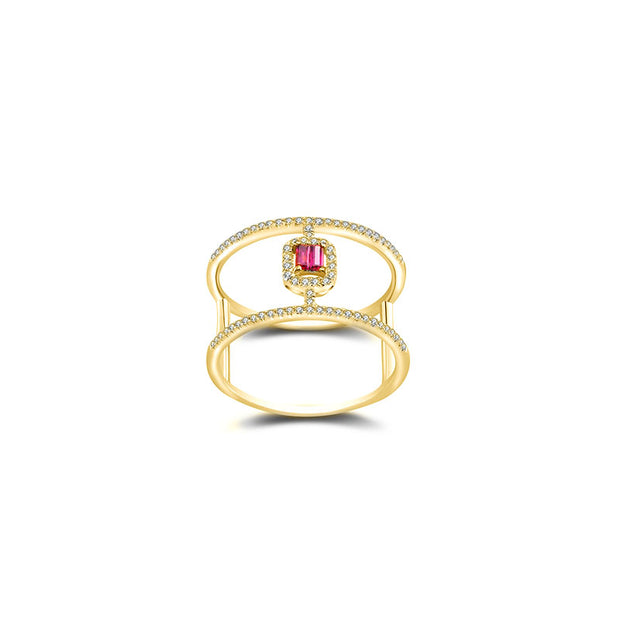 18k Gold Double Line Shape Ring with Ruby - Genevieve Collection