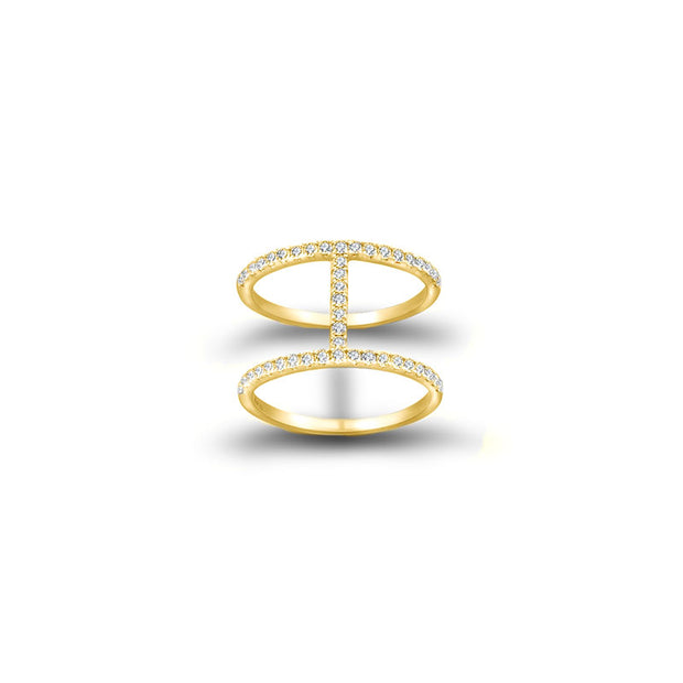 18k Gold Connected Line Diamond Ring - Genevieve Collection