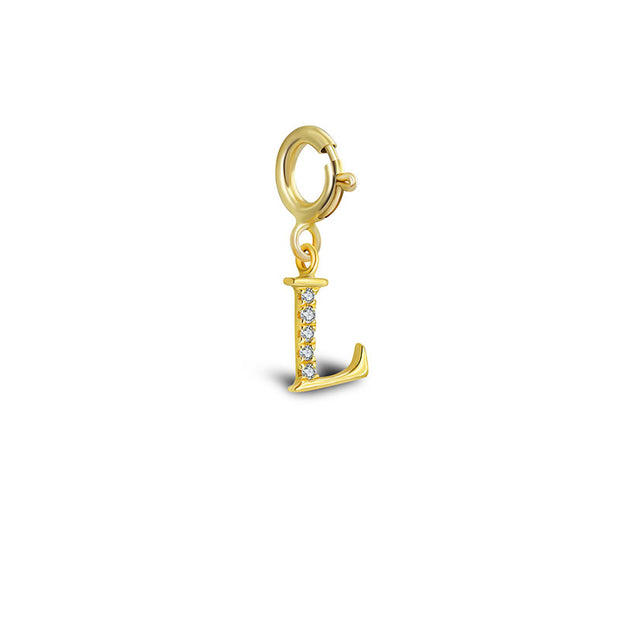 "18k Gold Letter ""L"" Diamond Charms - Genevieve Collection"