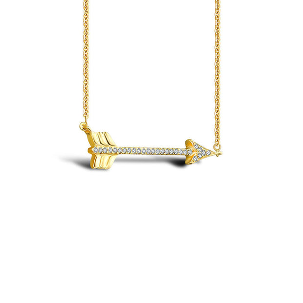 18k Gold Arrow Diamond Necklace - Genevieve Collection