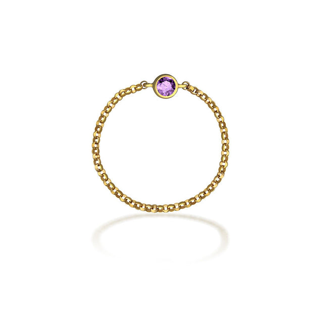 18k Gold June Birth Stone Light Amethyst Chain Ring - Genevieve Collection