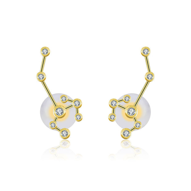 18k Gold Sagittarius Diamond Earring - Genevieve Collection