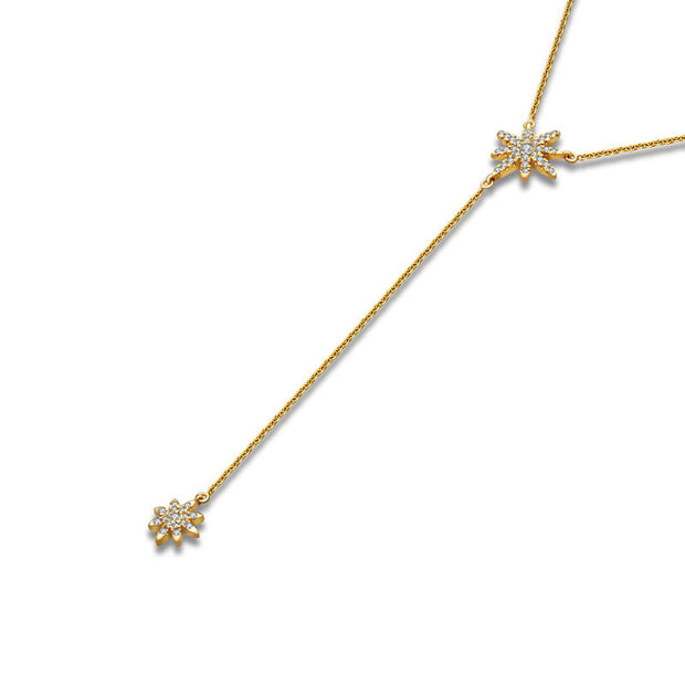 18k Gold Star Dangling Diamond Necklace - Genevieve Collection