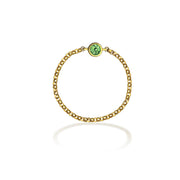 18k Gold August Birthstone Peridot Chain Ring - Genevieve Collection