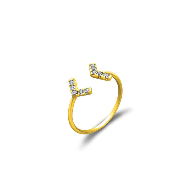 18k Gold Double Arrow Diamond Midi / Pinky Ring - Genevieve Collection