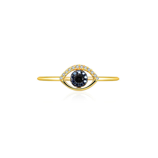 18k Gold Evil Eye Sapphire Diamond Ring - Genevieve Collection
