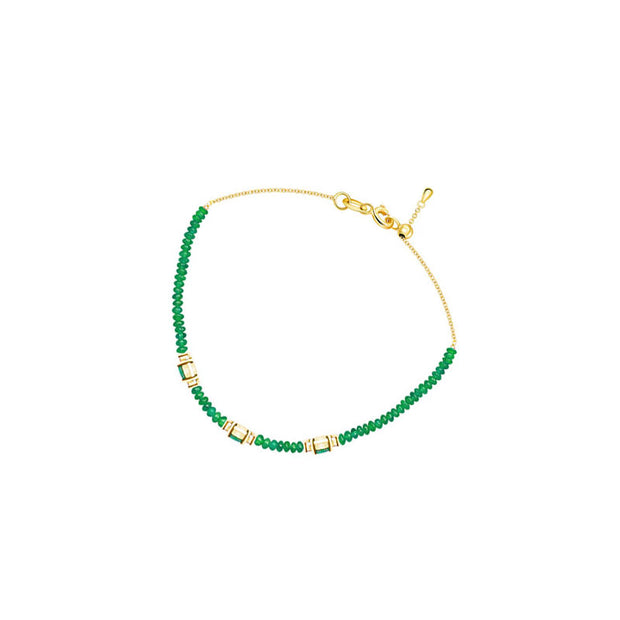 18k Gold Triple Emerald Diamond Bracelet with Beaded Emerald - Genevieve Collection