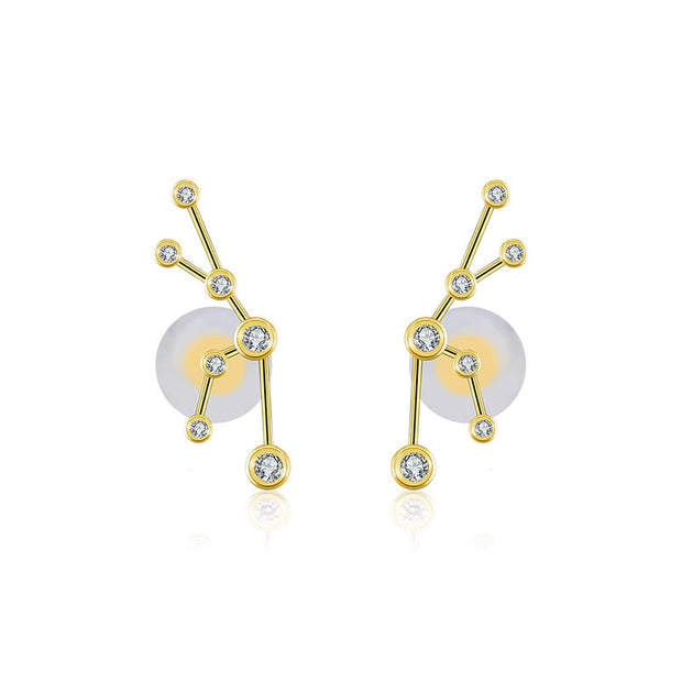 Taurus Zodiac Constellation Earring 18k Gold & Diamond - Genevieve Collection