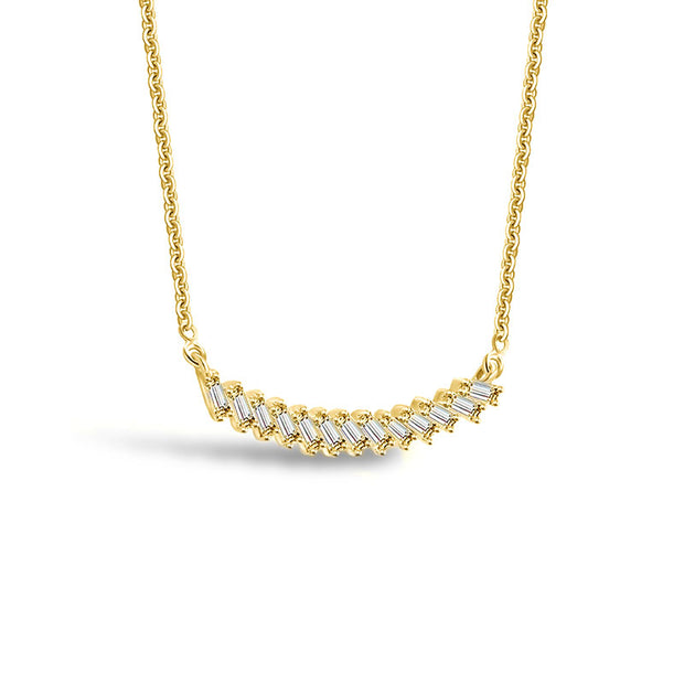 18k Gold Curve Line with Rectangle Diamond Necklace - Genevieve Collection
