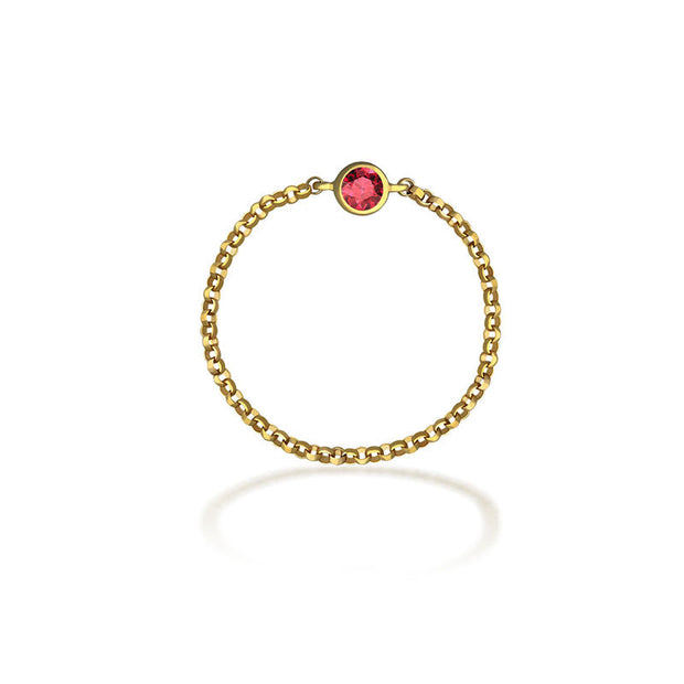 18k Gold July Birthstone Ruby Chain Ring - Genevieve Collection