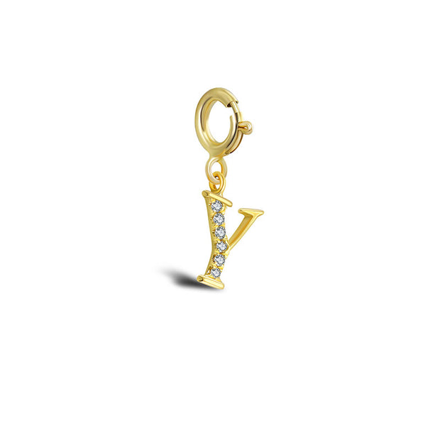 "18k Gold Letter ""Y"" Diamond Charms - Genevieve Collection"