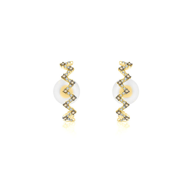 18k Gold Black and White Block Pattern Half Hoop Diamond Earring - Genevieve Collection
