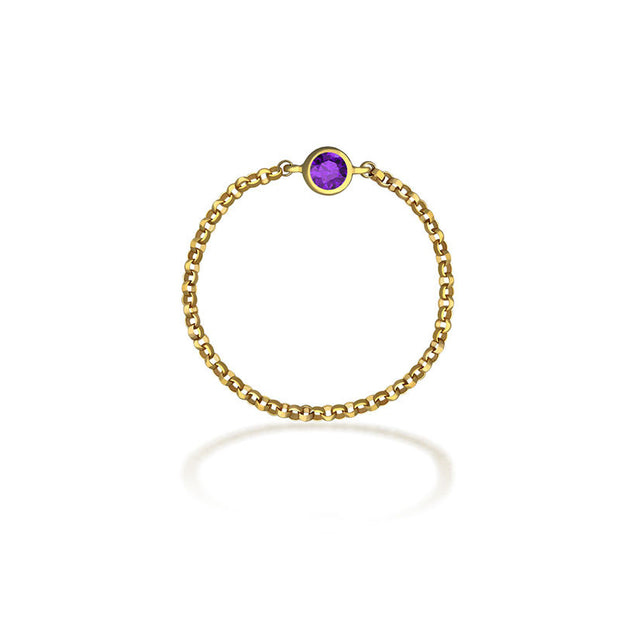 18k Gold February Birth Stone Amethyst Chain Ring - Genevieve Collection