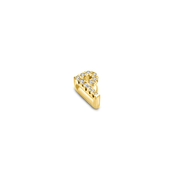 "18k Gold Initial Letter ""P"" Diamond Pandent + Necklace - Genevieve Collection"