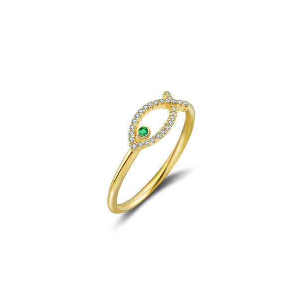 18k Gold Fish Shape Diamond Ring with Emerald - Genevieve Collection