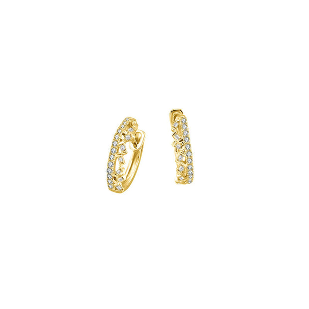 18k Gold Hoop Diamond Earring with Irregular Pattern - Genevieve Collection