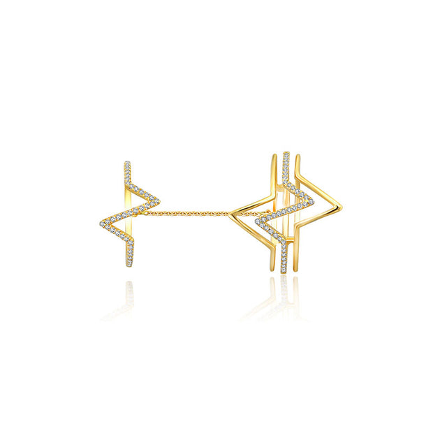 18k Gold Zigzag Connection Diamond Ring - Genevieve Collection
