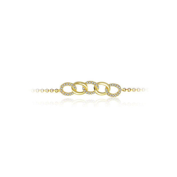 18k Gold Chain Shape Diamond Bracelet