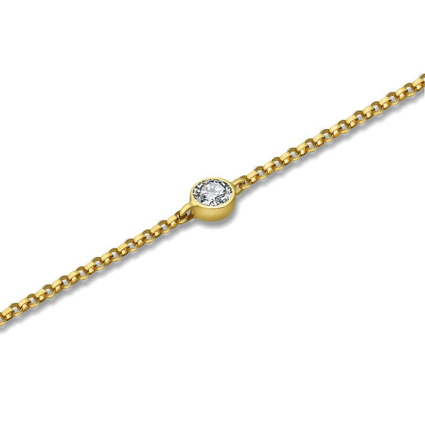 18k Gold April Birth Stone Diamond Bracelet - Genevieve Collection