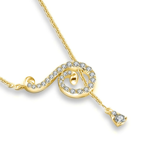 18k Gold Curve Shape Adjustable Diamond Necklace - Genevieve Collection
