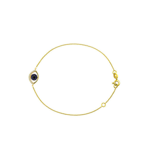 18k Gold Evil Eye Sapphire and Diamond Bracelet - Genevieve Collection