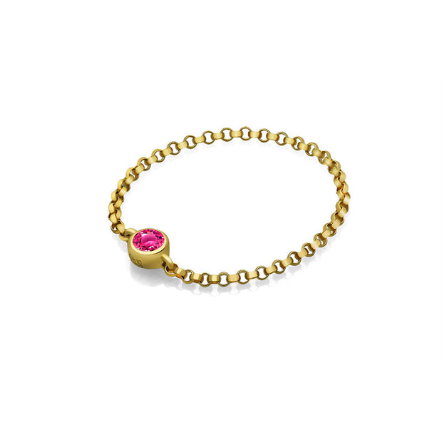 18k Gold October Birthstone Tourmaline Chain Ring - Genevieve Collection