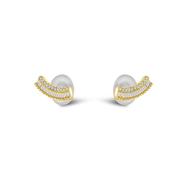 18k Gold Curve Shape with Rectangle Diamond Earring - Genevieve Collection