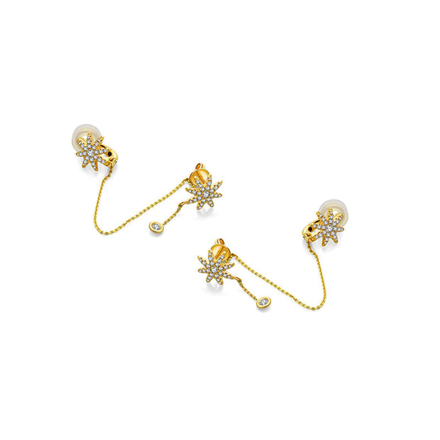 18k Gold Star Shape Diamond Ear Cuff & Earring - Genevieve Collection