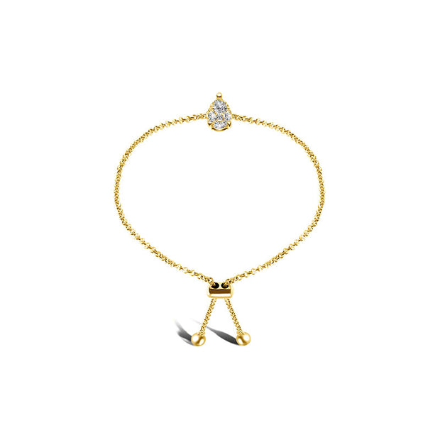 18k Gold Pear-Shaped Adjustable Diamond Bracelet