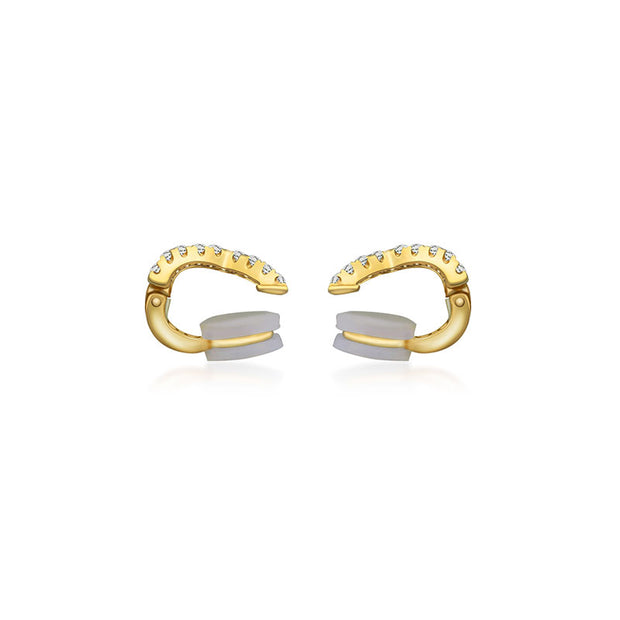 18k Gold Triple Curve Diamond Ear Cuff - Genevieve Collection