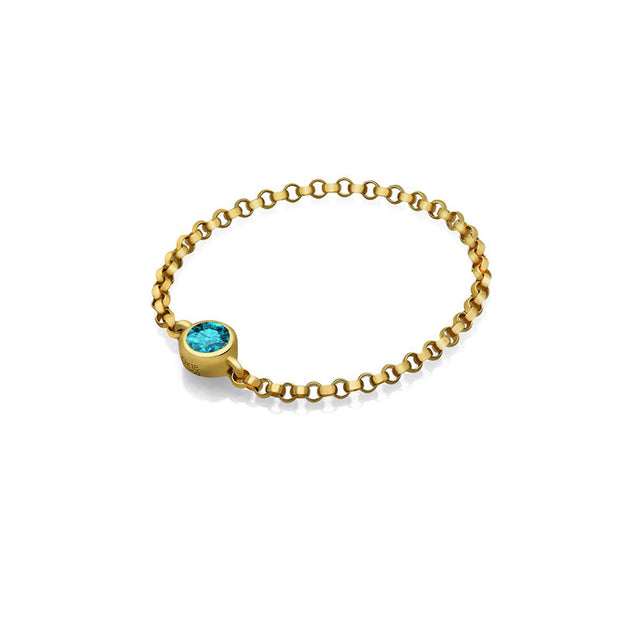 18k Gold December Birth Stone Topaz Chain Ring - Genevieve Collection