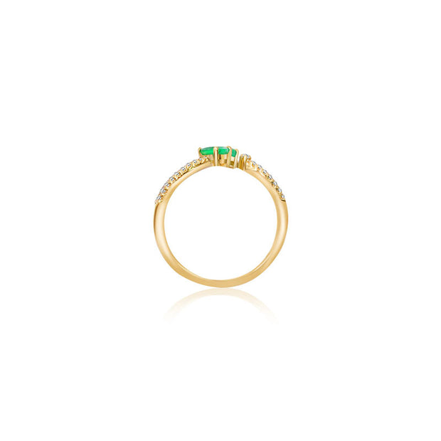18k Gold Double Emerald Connected Diamond Ring - Genevieve Collection