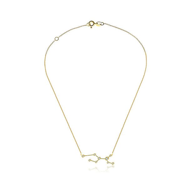 Virgo Zodiac Constellation Necklace 18k Gold & Diamond - Genevieve Collection