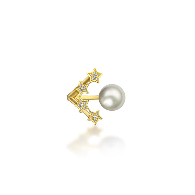18k Gold Quadruple Star Open Diamond Ring With Pearl - Genevieve Collection