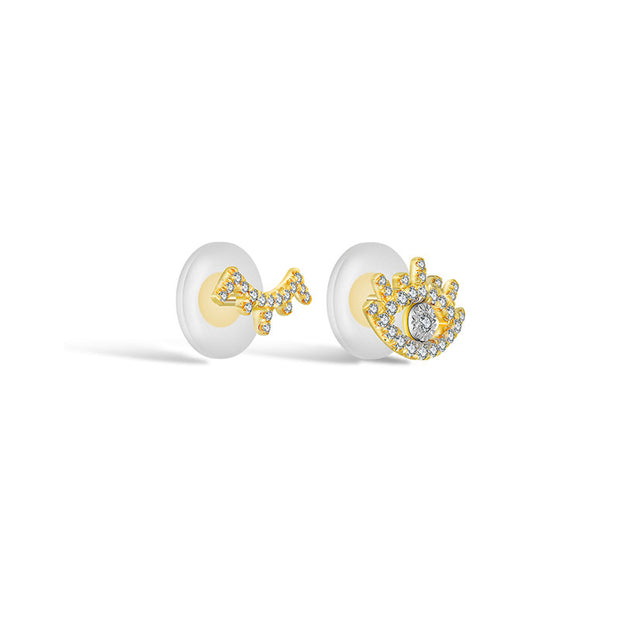 18k Gold Evil Eye & Eyelash Diamond Earring - Genevieve Collection