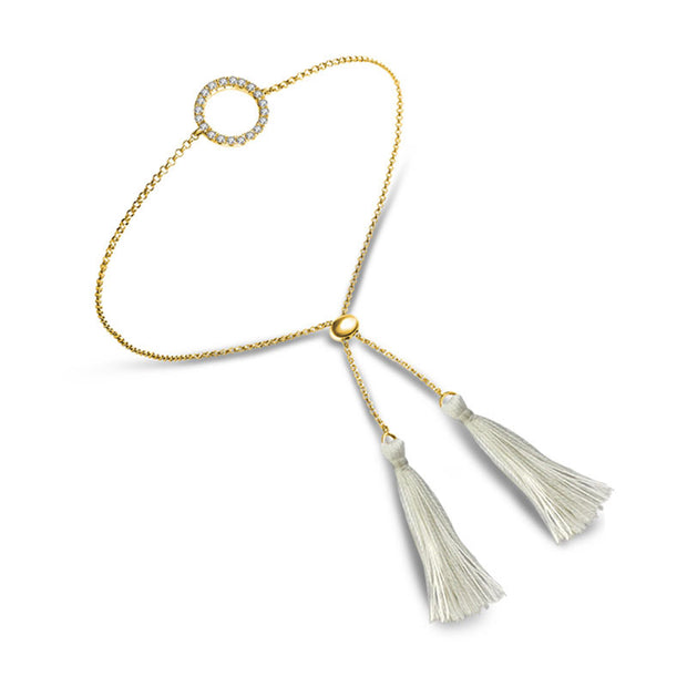 18k Gold Round Shape Diamond Bracelet with White Tassel - Genevieve Collection