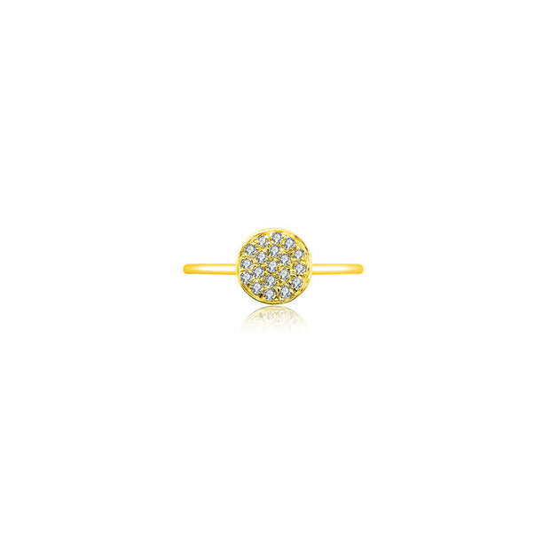 18k Gold Round Shape Pave Diamond Ring - Genevieve Collection