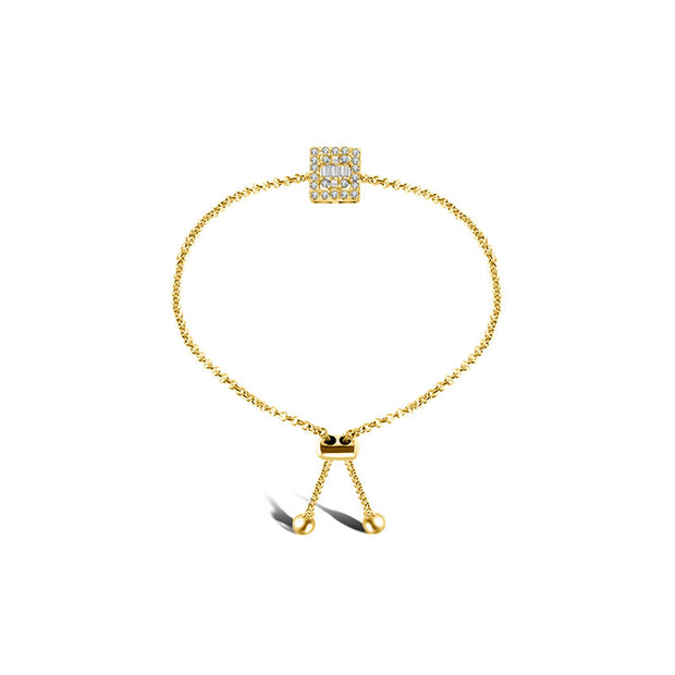 18k Gold Square-Shaped Adjustable Diamond Bracelet