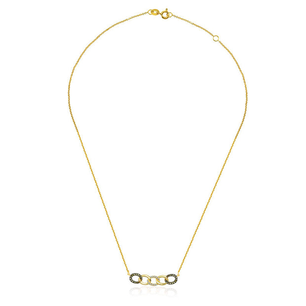 18k Gold Chain Shape Diamond Necklace With Black Plating - Genevieve Collection