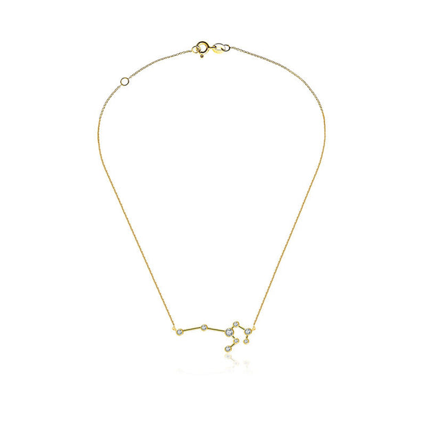 Leo Zodiac Constellation Necklace 18k Gold & Diamond - Genevieve Collection