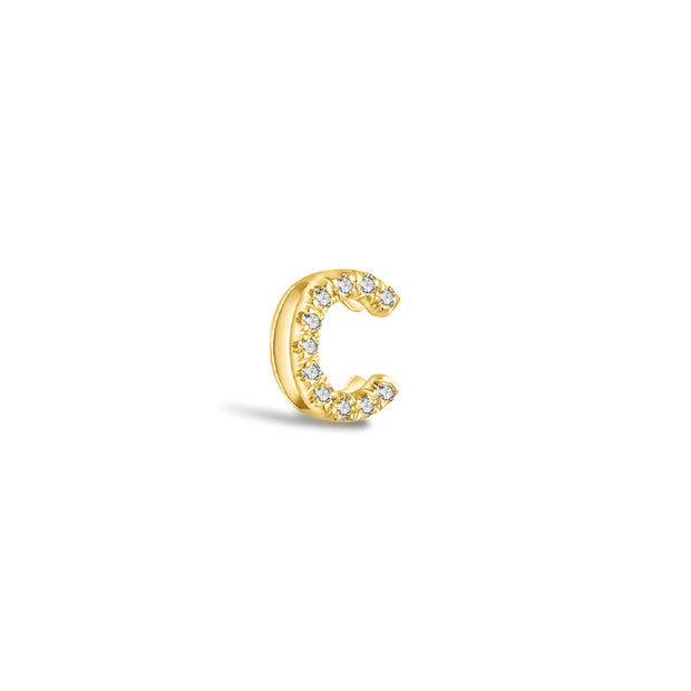 "18k Gold Initial Letter ""C"" Diamond Pandent + Necklace - Genevieve Collection"