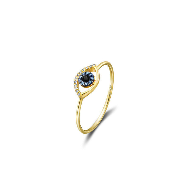 18k Gold Evil Eye Sapphire Diamond Ring