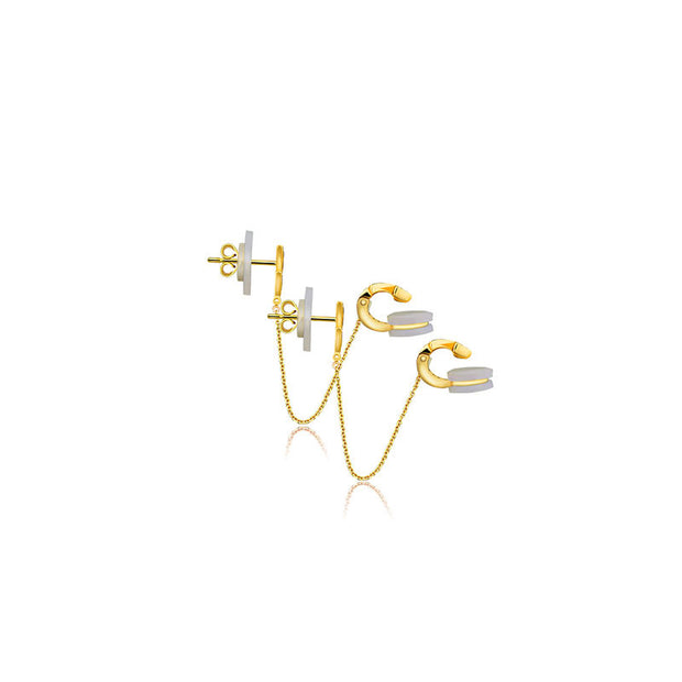 18k Gold Double Triangle Dangling Diamond Ear Cuff - Genevieve Collection