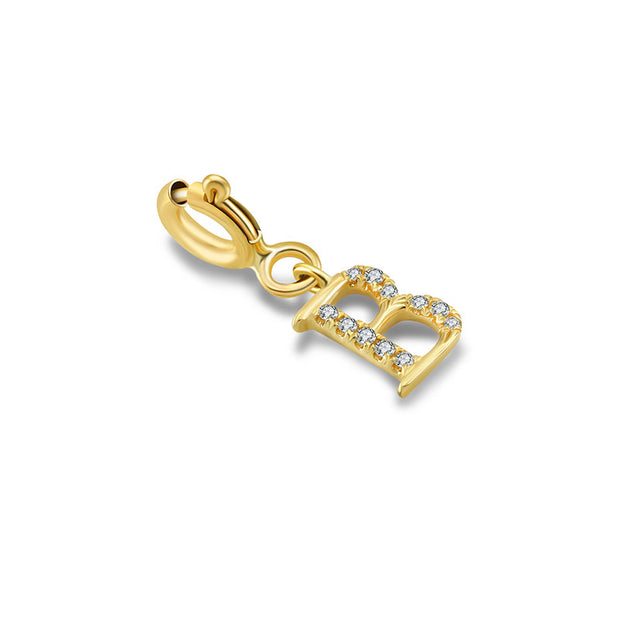 "18k Gold Letter ""B"" Diamond Charms - Genevieve Collection"