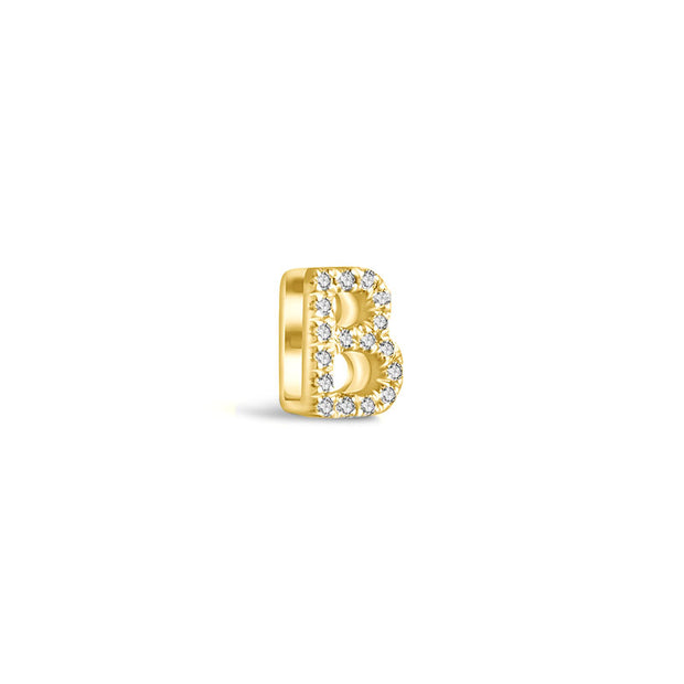 "18k Gold Initial Letter ""B"" Diamond Pandent + Necklace - Genevieve Collection"