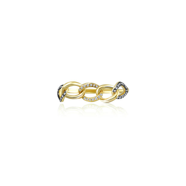 18k Gold Chain Shape Diamond Ring Mix With Black Gold - Genevieve Collection