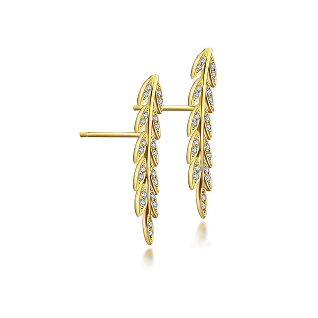 18k  Gold Diamond Greek Leaf Upward Earring - Genevieve Collection