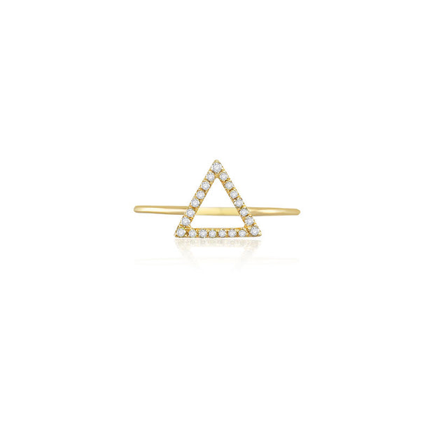 18k Gold Hollow Triangle Pave Diamond Ring - Genevieve Collection