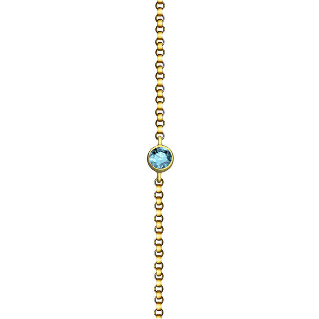 18k Gold March Birth Stone Aquamarine Bracelet - Genevieve Collection