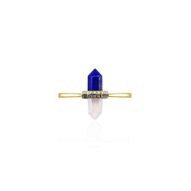 18k Gold Lapis And Quartz Diamond Ring - Genevieve Collection